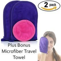 Reversible Makeup Remover Cloth Mitt (2 pack) & Bonus Microfiber Travel ... - $220,81 MXN