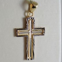 18K YELLOW & WHITE GOLD CROSS, SQUARED SATIN BRIGHT RAYS 1.10 INCH MADE IN ITALY image 1