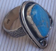 Turquise pressed silver ring mt14 thumb200