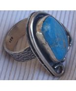 Turquoise pressed silver ring MT 14 - $48.00