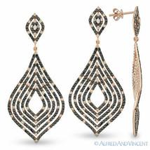 3.54 ct White Black Diamond Pave Drop Dangling 14k Rose Gold Chandelier Earrings - $2,900.69