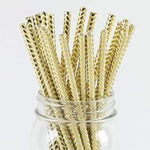 Paper Straws Gold Foil Chevron Pattern - Eco Friendly Wedding Straws - D... - £9.08 GBP
