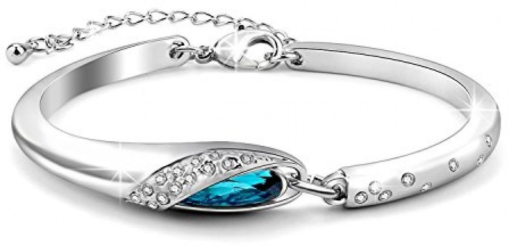 Fancystyle Jewelers Glass Slipper Bangle Bracelet Made With Blue Austria Love - $17.87