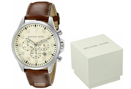 Michael Kors Men's Chronograph Gage Brown Leather Strap 45mm Watch MK8441 - $97.50