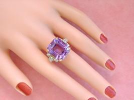VINTAGE RETRO .75ctw DIAMOND AMETHYST STATEMENT COCKTAIL RING MOUNTING 1... - $1,672.11