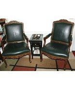 ❤️WHITTEMORE-SHERRILL Limited USA Green Leather Carved Chair Set EXCELLE... - $1,377.50
