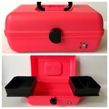 Vintage Caboodles Makeup Case Pink Black 2 Tier Sliding Trays Cosmetic O... - $29.69