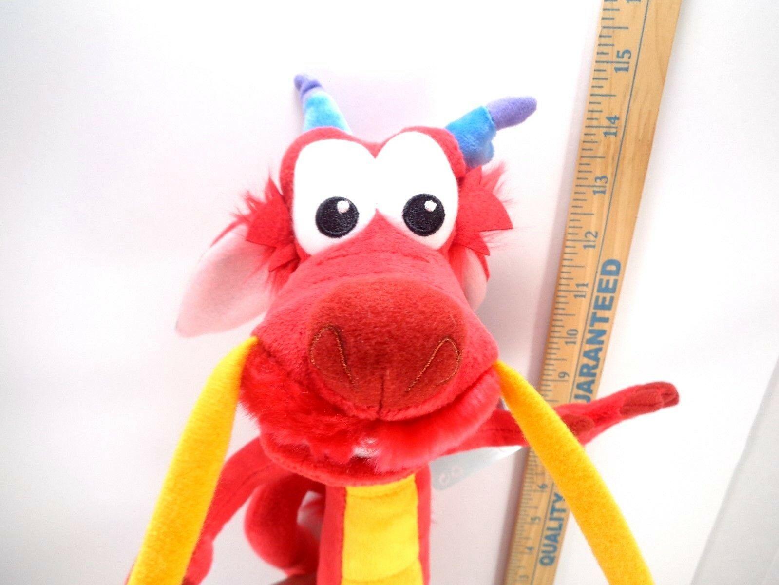 """Mulan Mushu Dragon Plush Doll Soft Stuffed Toy Disney Store Authentic NEW 14"""""""