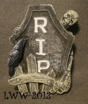 Skeleton Fence RIP Tombstone Skull Grave Graveyard Halloween Cement figure - $3.99