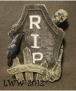 Skeleton Fence RIP Tombstone Skull Grave Graveyard Halloween Cement figure - $3.99