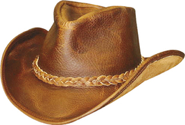 Henschel Leather Cowboy Hat Shapeable Brim Rope Band Made In USA Brown Black - £67.50 GBP - £73.25 GBP