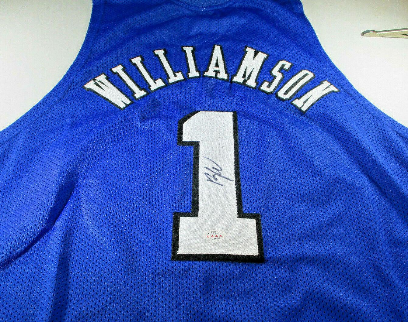 competitive price 425b3 865cc ZION WILLIAMSON / #1 NBA PICK / AUTOGRAPHED DUKE BLUE DEVILS CUSTOM JERSEY  / COA