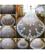 White/Ivory 3.8m 1T/ One layer Cathedral lace appliqué wedding veil 7 st... - $60.00