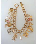 "KIRKS FOLLY Gold-tone 13 Charms BRACELET 7 1/2"" to 9""-hearts cherub ange... - $65.00"