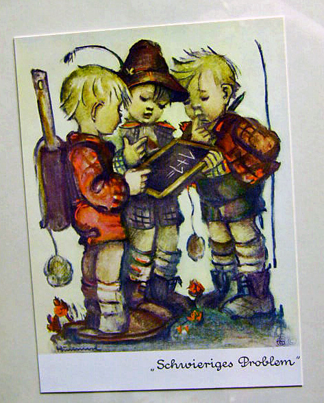 Vintage Hummel German Print Boys Difficult Problem