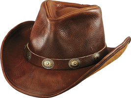 Henschel Leather Cowboy Hat Shapeable Brim Conchos Made In USA Black Brown - £65.66 GBP+