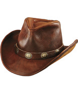 Henschel Leather Cowboy Hat Shapeable Brim Conchos Made In USA Black Brown - $86.00