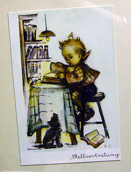 Rare Hummel Print Boy Reading Book w Dog German