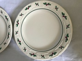 """2 Longaberger Pottery Holly Berries Woven 9"""" Luncheon Salad Plate Christmas - $35.52"""