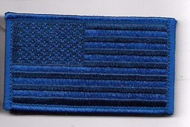 BLUE LINE POLICE FLAG  2 X 3  EMBROIDERED PATCH WITH HOOK LOOP - $15.33