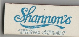Vtg Strike on Match Box with local ad & sticks ~ Shannon's Seafood Resta... - $9.89