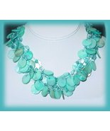Genuine Aqua Blue Sea Abalone Shells Necklace Earring Set  New - £15.19 GBP