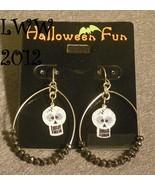 Glitter Skull Hoop Beaded Halloween French Hook Dangly Earrings Gothic - $6.99