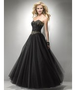 Sexy Strapless Black or Pink Beaded Prom Pageant Evening Gown Dress, Fli... - ₹20,990.58 INR