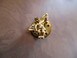 Tiny Angel Gold Toned Clear Rhinestone Lapel Hat Pin - $4.99