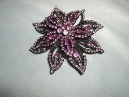 Vintage 3-Tier Pink Flower Rhinestone Large Flower Brooch Pin Silver Fin... - $25.00