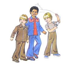Vtg 70s Simplicity 6122 Boys Shirt Jacket Bell Bottom Pants Hipster 21C ... - $6.95