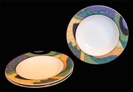 3 Studio Nova CONCEPTS Colorful Geometric Border Wide Rim Soup Bowls DISC '99 - $19.99