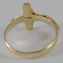 SOLID 18K YELLOW GOLD BAND RING WITH JESUS CROSS LUMINOUS SMOOTH, MADE IN ITALY image 2