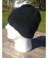 Mens or Womens Beanie Hat Alpaca Wool Cap Hand Knitted Slouch Black Hand... - $29.40