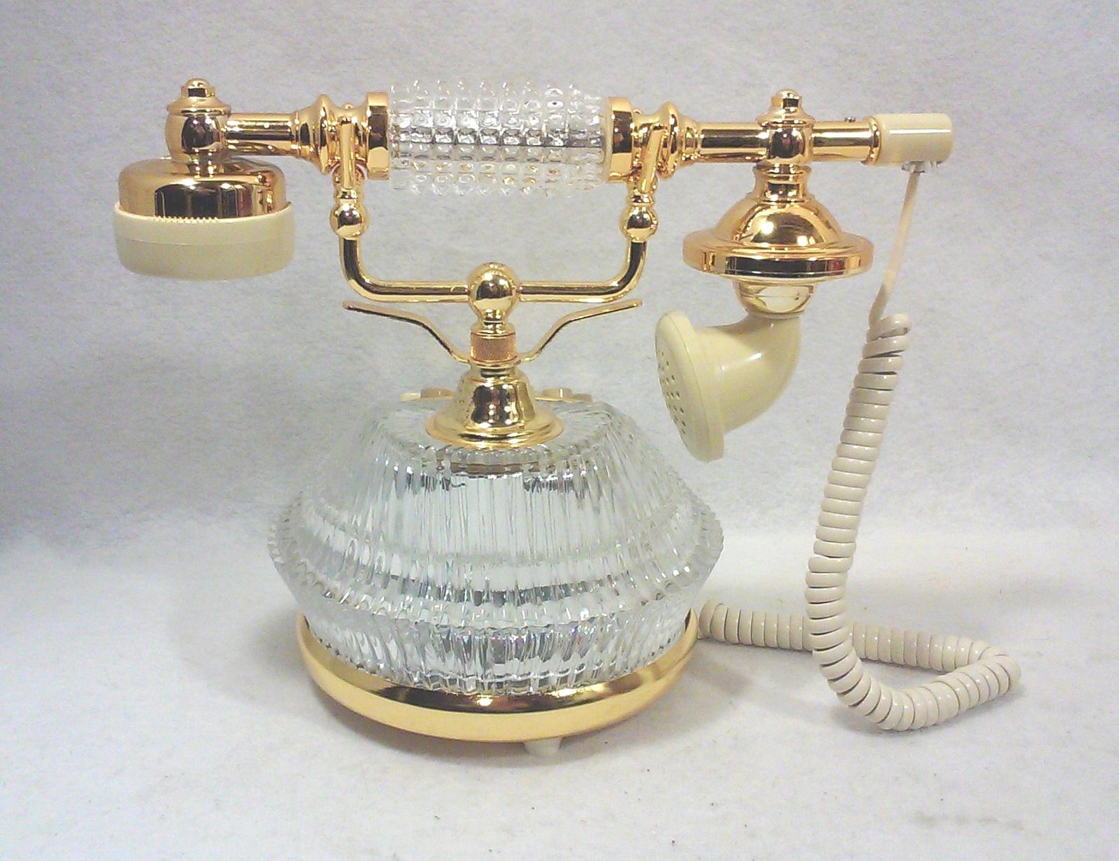 Vintage Hollywood Regency Crystal Telephone