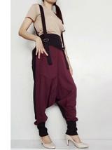 SALE Drop Crotch Harem Pants Suspender Jumpsuit Burgundy Cotton Blend SP-02 - $55.00