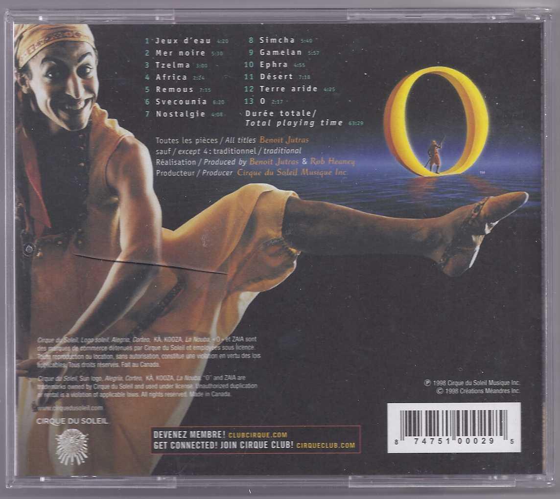 CIRQUE DU SOLEIL O SHOW MUSIC CD BY BENOIT JUTRAS