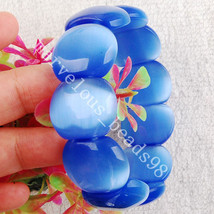 "Free Shipping Fashion Jewelry Blue Opal Beads Stretch Bracelet  7"" FG0511 - $10.38"