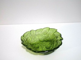 "Vintage Indiana Glass Green Pressed Glass Candy Bowl Leaves and Grapes 7.5x2"" - $7.92"