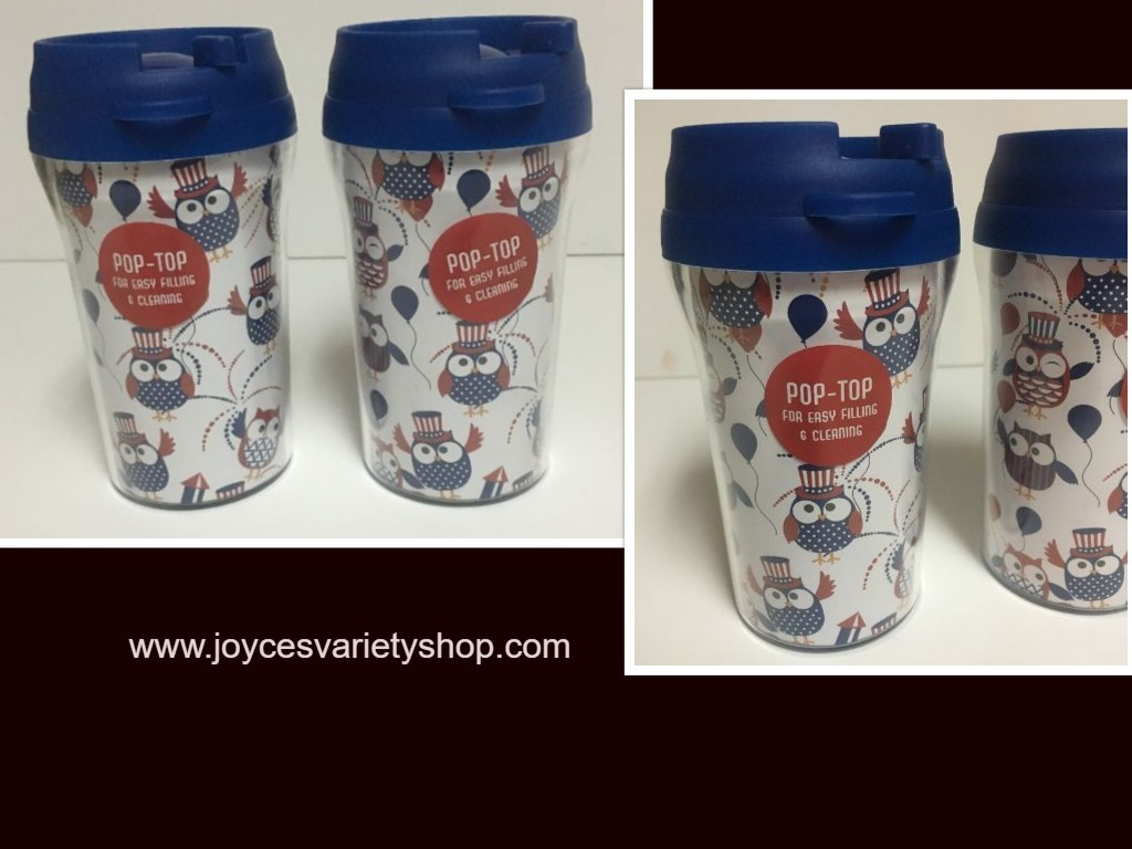Primary image for Patriotic Owl Design 10 Oz Travel Cups Pop Top Lot of 2