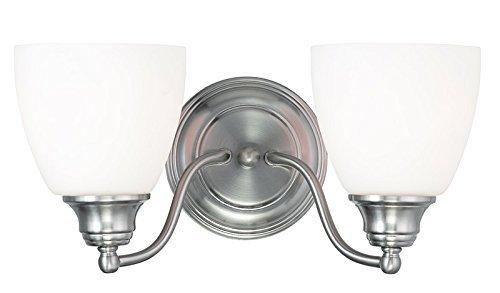 Livex 2 Light Bathroom Vanity Lighting Fixture Brushed: Livex Lighting 13672-91 Somerville 2-Light Bath Light