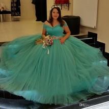 Off the Shoulder Ball Gown Tulle Wedding Dress Floor Length Vestido de N... - $189.99