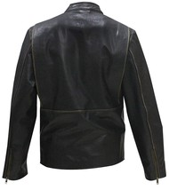 Mark Wahlberg Daddy's Home Dusty Biker Distressed Black Leather Jacket image 4