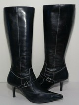 Anne Klein Size 9 M MAJESTER Black Leather Knee High Boots New Womens Shoes - $147.51