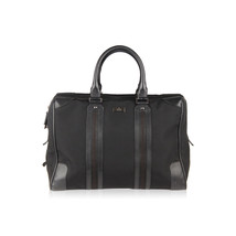 Authentic GUCCI Black Canvas Soft Briefcase Travel Bag Overnight Bag - $643.50