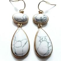 White Howlite earrings Drop Dangle jewelry natural stone G11 - $17.77