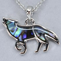 A.T. Storrs Wild Pearle Abalone Shell Small Wolf Pendant & Silver Tone Necklace image 2