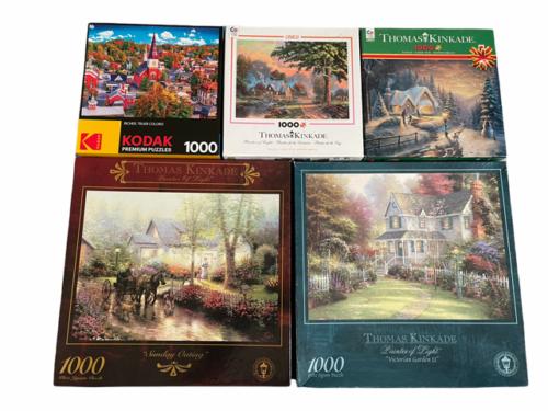 Lot of 5 Jigsaw Puzzle 1000PC Thomas Kinkade Kodak Victorian Garden II