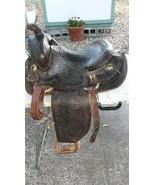 "Vintage Antique Tex Tan Hereford Leather Saddle, 15"", ornate carving - $381.15"
