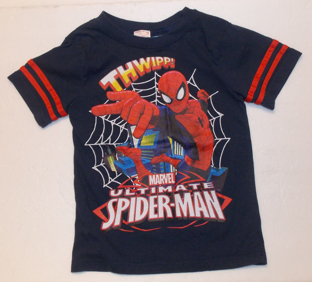 Marvel Ultimate Spider-Man Boys T-Shirt Dark Blue Size XS 4-5 GUC